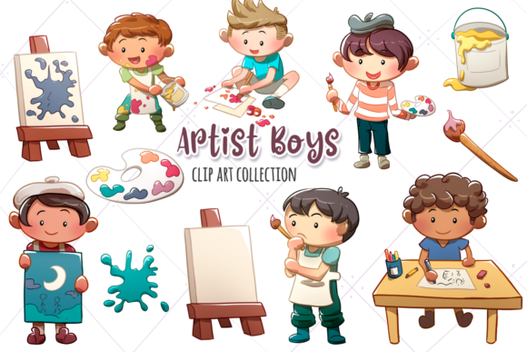 Print on Demand: Artist Boys Clip Art Collection Graphic Illustrations By Keepinitkawaiidesign