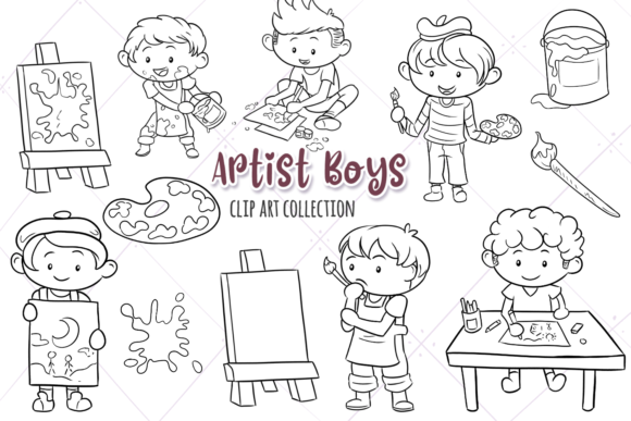 Download Free Artist Boys Digital Stamps Graphic By Keepinitkawaiidesign for Cricut Explore, Silhouette and other cutting machines.