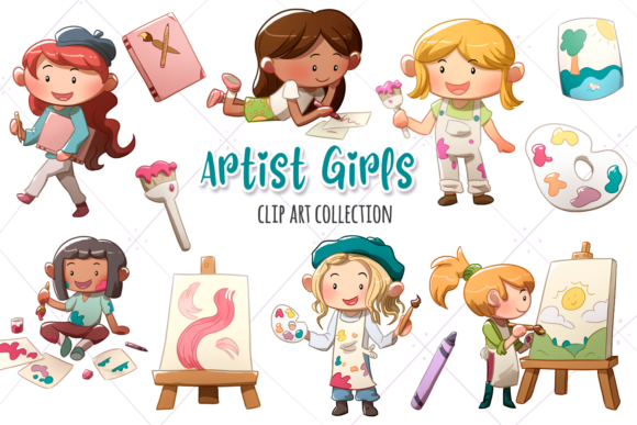 Print on Demand: Artist Girls Clip Art Collection Graphic Illustrations By Keepinitkawaiidesign