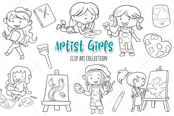 Print on Demand: Artist Girls Digital Stamps Graphic Illustrations By Keepinitkawaiidesign