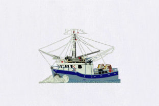 Blue Ship Beach & Nautical Embroidery Design By DigitEMB