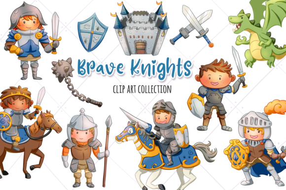 Print on Demand: Brave Knights Clip Art Collection Graphic Illustrations By Keepinitkawaiidesign