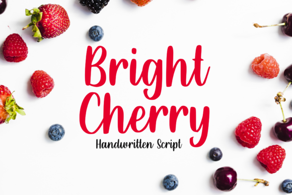 Print on Demand: Bright Cherry Manuscrita Fuente Por Sibelumpagi Studio