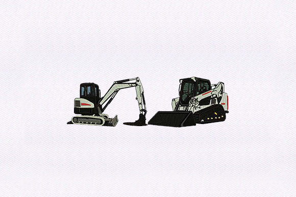 Bulldozer & Excavator Transportation Embroidery Design By DigitEMB