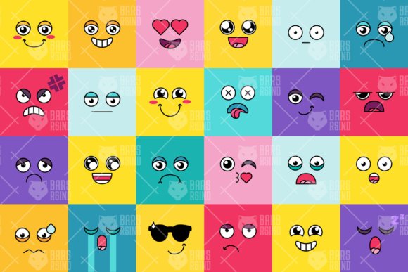 Download Free Comic Cute Emoji Sticker Pack Graphic By Barsrsind Creative for Cricut Explore, Silhouette and other cutting machines.