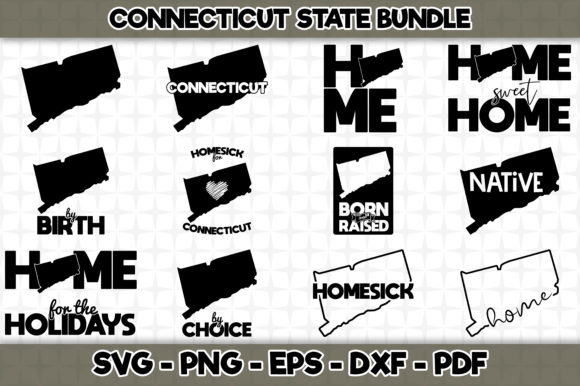 Print on Demand: Connecticut State Bundle - 12 Designs Graphic Crafts By SVGExpress