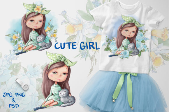 Print on Demand: Cute Girl Graphic Illustrations By nicjulia - Image 1