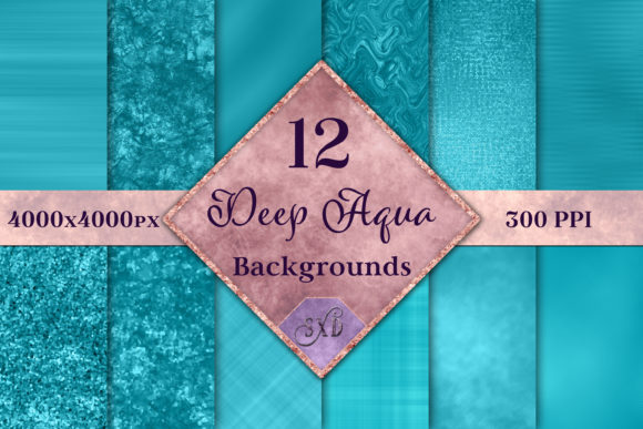Print on Demand: Deep Aqua Backgrounds - 12 Image Set Graphic Backgrounds By SapphireXDesigns - Image 1