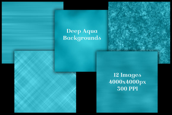 Print on Demand: Deep Aqua Backgrounds - 12 Image Set Graphic Backgrounds By SapphireXDesigns - Image 2