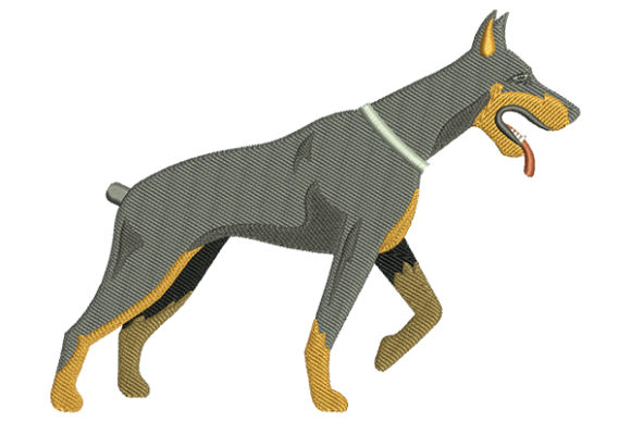 Doberman Dog Dogs Embroidery Design By DigitEMB