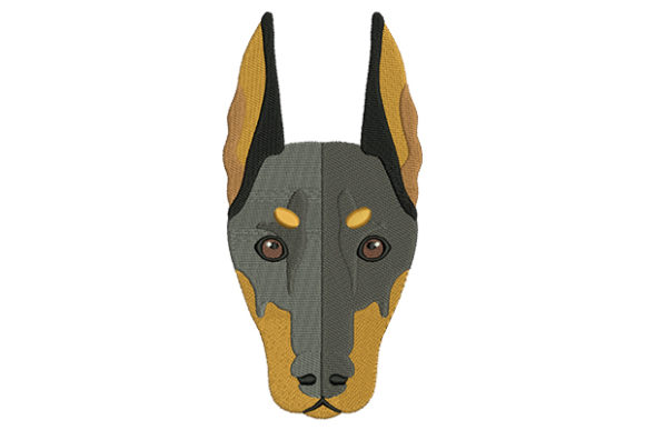 Doberman Face Dogs Embroidery Design By DigitEMB