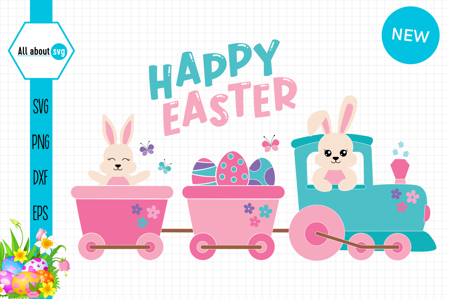 Download Free Easter Bunny In Train Graphic By All About Svg Creative Fabrica SVG Cut Files