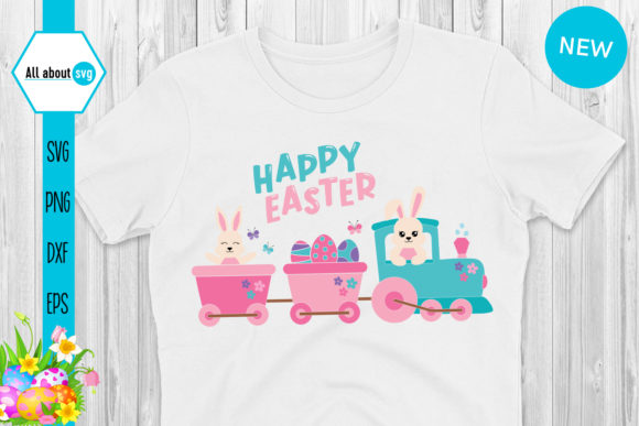 Download Free Easter Bunny In Train Graphic By All About Svg Creative Fabrica for Cricut Explore, Silhouette and other cutting machines.