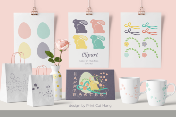 Print on Demand: Easter Clipart Card Making Set Graphic Holidays By print.cut.hang