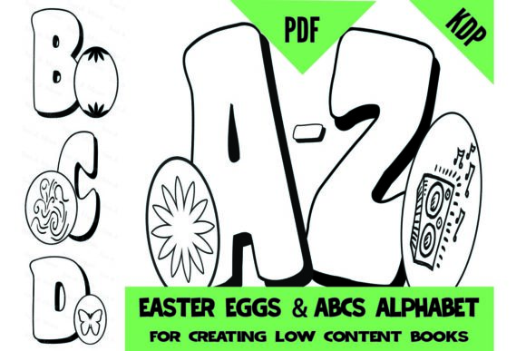 Print on Demand: Easter Eggs ABC Alphabet Coloring Pages Graphic Coloring Pages & Books Kids By SunandMoon