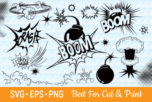 Download Free Explosion Boom Crash Superhero Graphic By Olimpdesign Creative for Cricut Explore, Silhouette and other cutting machines.