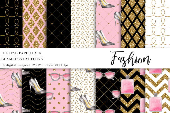 Fashion Digital Papers Graphic Patterns By BonaDesigns