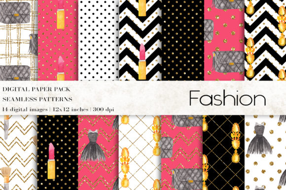 Fashion Makeup Digital Papers Graphic Patterns By BonaDesigns