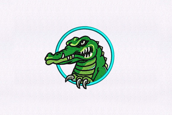Green Alligator Reptiles Embroidery Design By DigitEMB