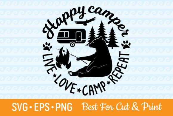 Download Free Happy Camper Camping Camp Summer Graphic By Olimpdesign for Cricut Explore, Silhouette and other cutting machines.