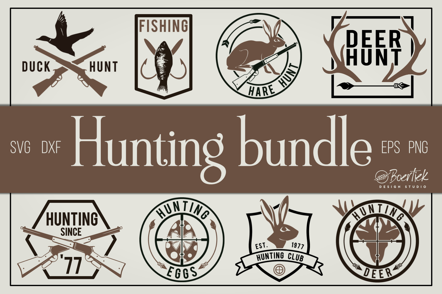 Download Free Hunting Bundle Cut Files Graphic By Boertiek Creative Fabrica for Cricut Explore, Silhouette and other cutting machines.
