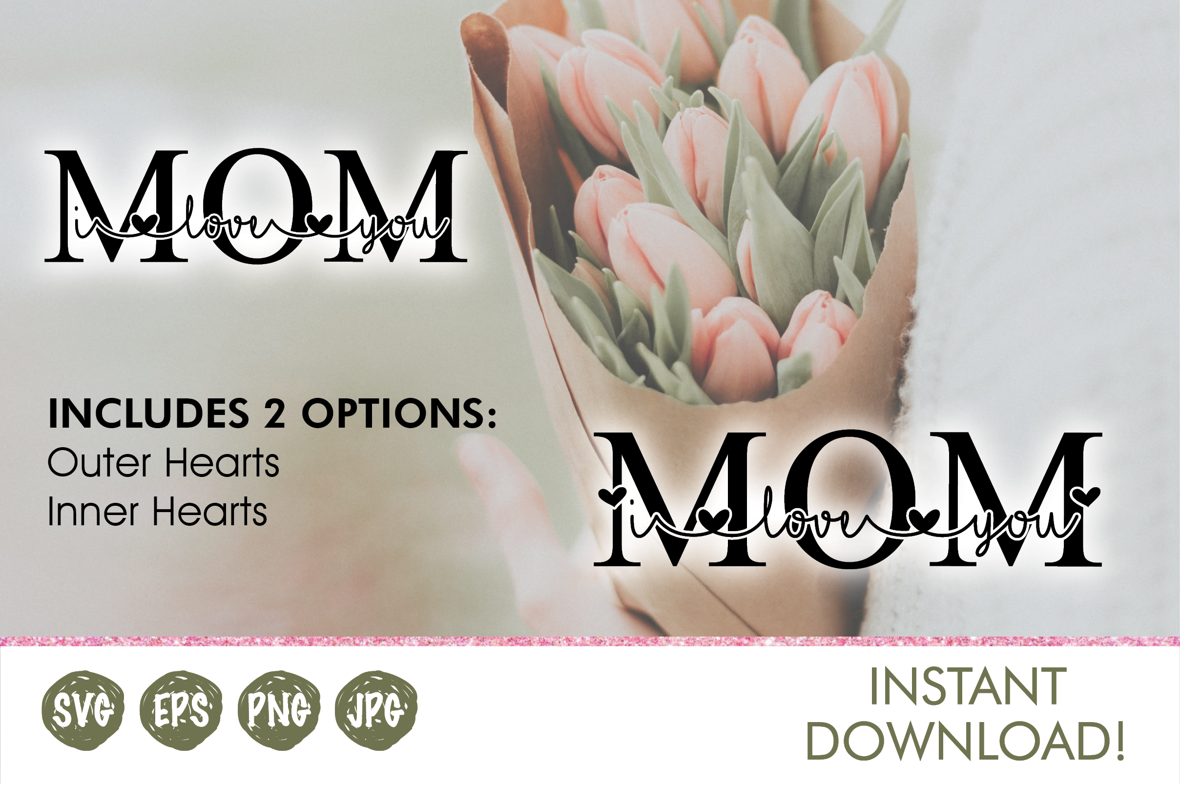 Download Free I Love You Mom Graphic By Oh K Productions Creative Fabrica for Cricut Explore, Silhouette and other cutting machines.