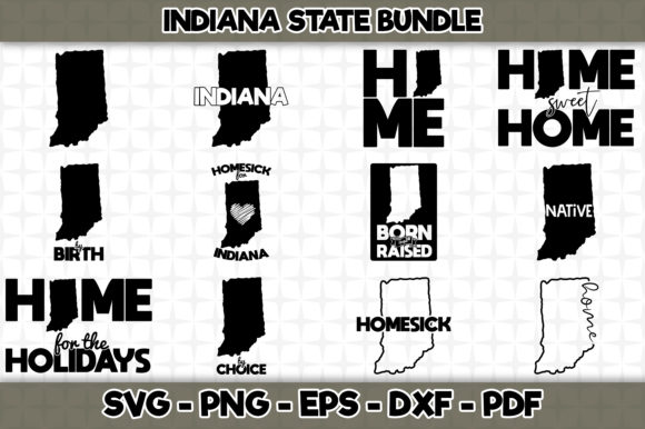 Download Free Indiana State Bundle 12 Designs Graphic By Svgexpress for Cricut Explore, Silhouette and other cutting machines.