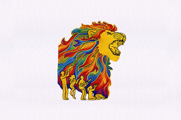 Lion with Groupies Wild Animals Embroidery Design By DigitEMB