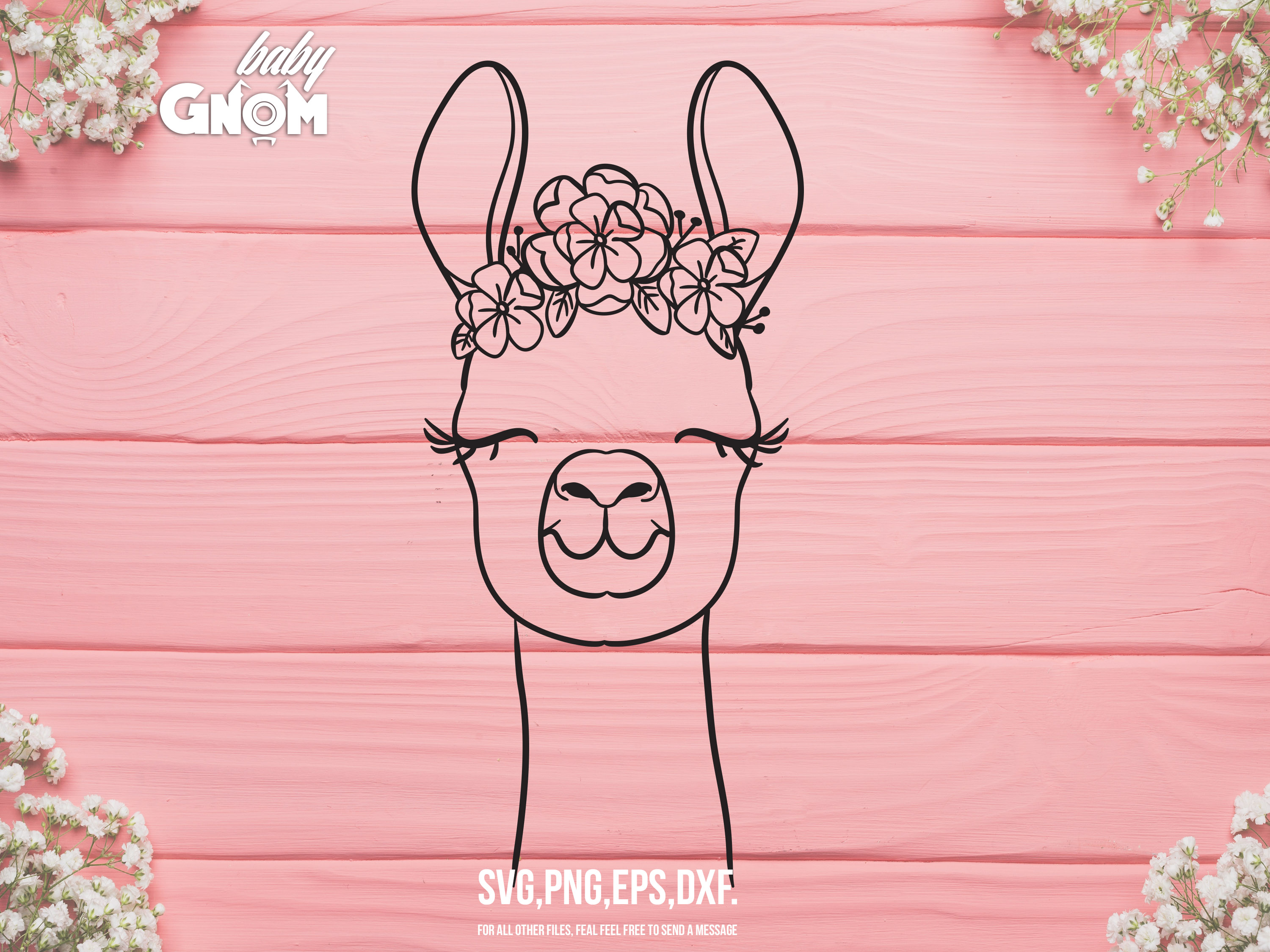 Download Free Llama With Flower Crown Graphic By Babygnom Creative Fabrica for Cricut Explore, Silhouette and other cutting machines.