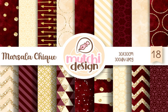 Print on Demand: Marsala Chic Digital Papers Graphic Backgrounds By Mutchi Design