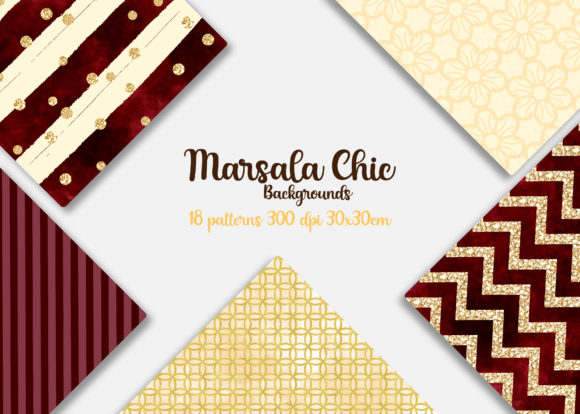 Print on Demand: Marsala Chic Digital Papers Graphic Backgrounds By Mutchi Design - Image 2