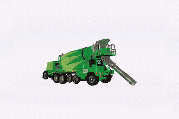 Mixer Truck Transportation Embroidery Design By DigitEMB