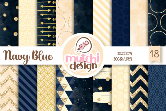 Print on Demand: Navy Blue Digital Papers Graphic Backgrounds By Mutchi Design