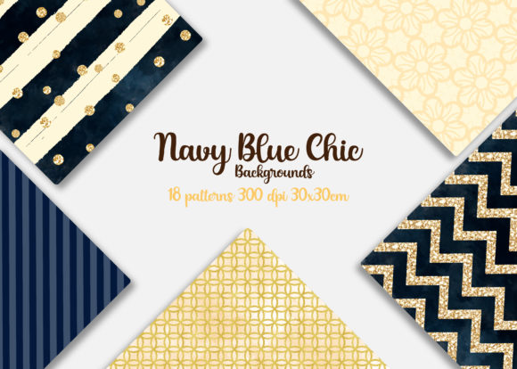 Print on Demand: Navy Blue Digital Papers Graphic Backgrounds By Mutchi Design - Image 2
