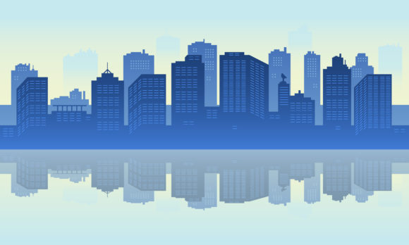 Download Free Panorama City Of Building In The Lake Graphic By Cityvector91 for Cricut Explore, Silhouette and other cutting machines.