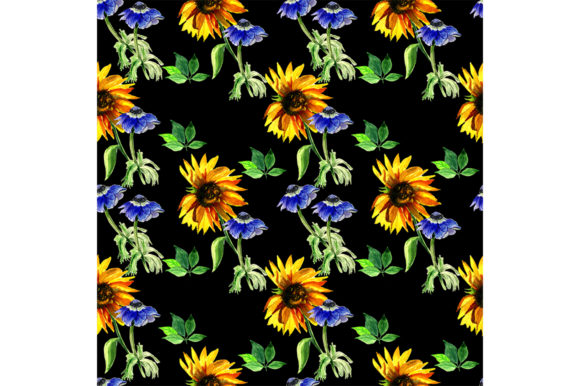Print on Demand: Pattern with Sunflower and Anemones Graphic Patterns By kakva