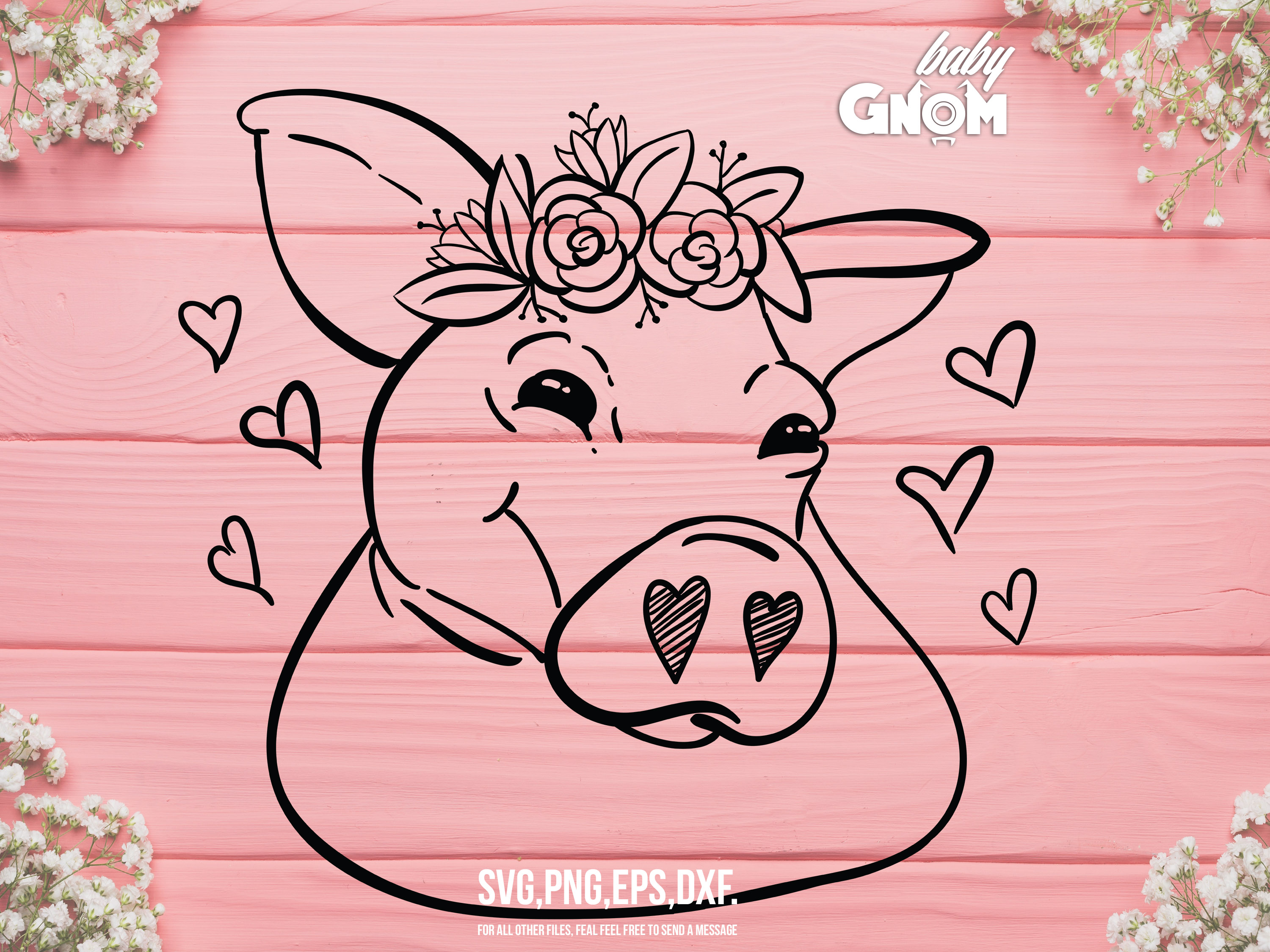Download Free Pig With Flower Crown Graphic By Babygnom Creative Fabrica for Cricut Explore, Silhouette and other cutting machines.