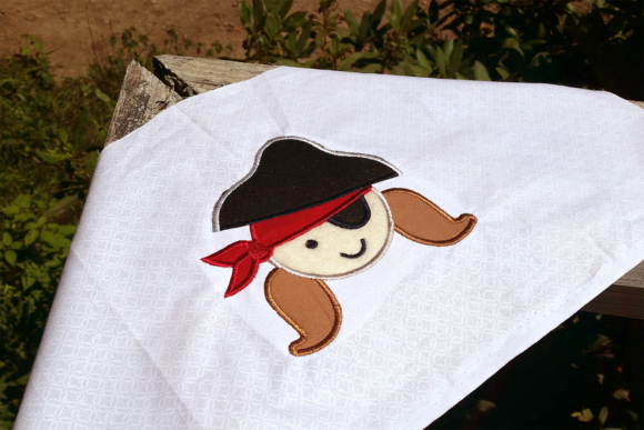 Pirate Girl Applique Halloween Embroidery Design By DesignedByGeeks