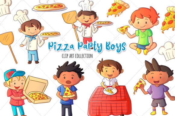 Print on Demand: Pizza Party Boys Clip Art Collection Graphic Illustrations By Keepinitkawaiidesign