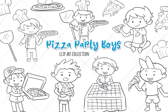 Print on Demand: Pizza Party Boys Digital Stamps Graphic Illustrations By Keepinitkawaiidesign
