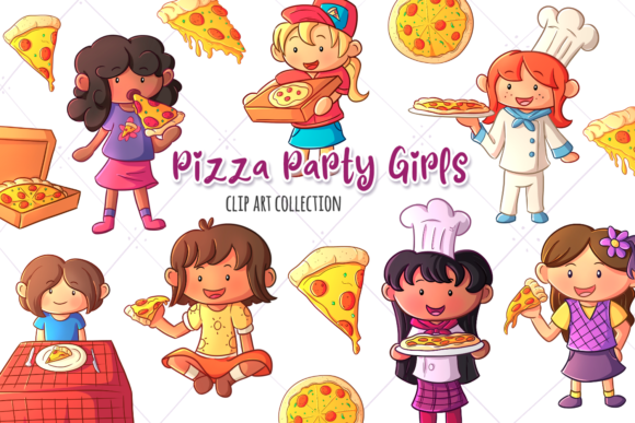 Print on Demand: Pizza Party Girls Clip Art Collection Graphic Illustrations By Keepinitkawaiidesign