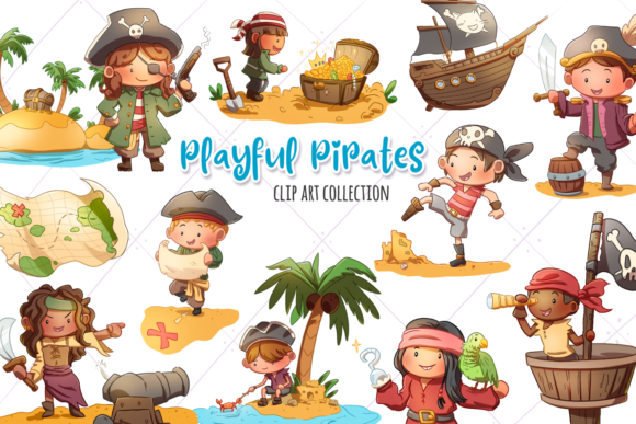 Print on Demand: Playful Pirates Clip Art Collection Grafik Illustrationen von Keepinitkawaiidesign
