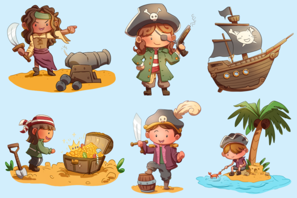 Print on Demand: Playful Pirates Clip Art Collection Graphic Illustrations By Keepinitkawaiidesign - Image 2