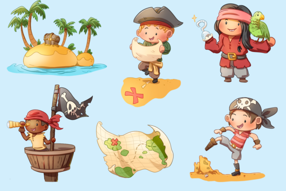 Print on Demand: Playful Pirates Clip Art Collection Graphic Illustrations By Keepinitkawaiidesign - Image 3