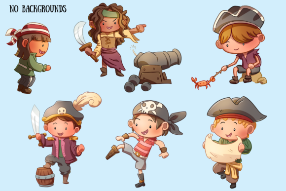 Print on Demand: Playful Pirates Clip Art Collection Graphic Illustrations By Keepinitkawaiidesign - Image 4