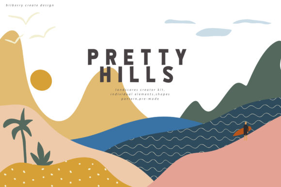 Pretty Hills Landscapes Kit Graphic Objects By BilberryCreate