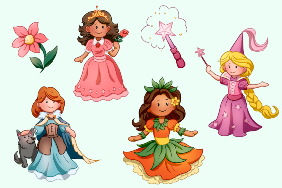 Print on Demand: Pretty Princess Clip Art Collection Graphic Illustrations By Keepinitkawaiidesign - Image 2