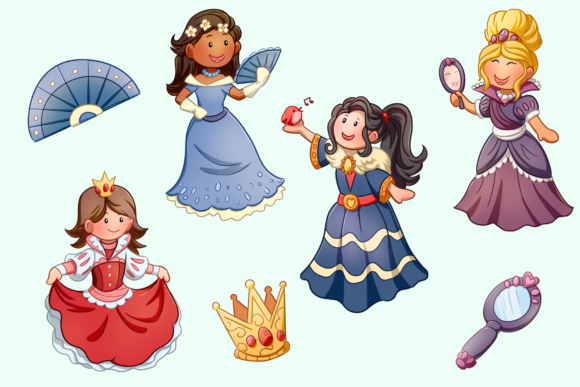 Print on Demand: Pretty Princess Clip Art Collection Graphic Illustrations By Keepinitkawaiidesign - Image 3