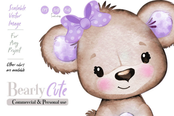 Print on Demand: Purple Teddy Bear Girl Vector, Clip Art Graphic Illustrations By adlydigital