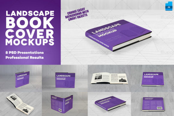 Download Free Realistic Landscape Book Cover Mockups Graphic By for Cricut Explore, Silhouette and other cutting machines.